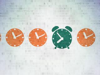 Timeline concept: green alarm clock icon on digital background