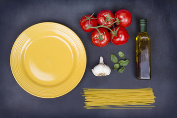 A collection of ingredients for spaghetti