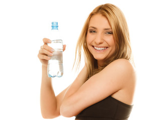 sporty fit girl doing exercise drinking water