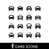 Car front view set icons 2