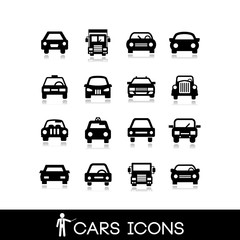 Car front view set icons 1