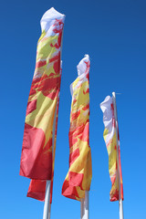 Multicolored festive flags during a holiday