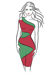 Beautiful woman in a slinky two-tone dress