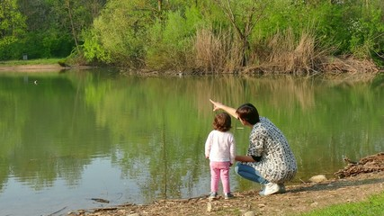 Nature Lake Pond Mother Mom Woman Family Child Girl