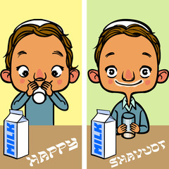Happy Shavuot. Jewish holiday card. vector