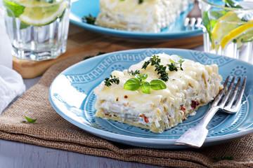White chicken cheese lasagna