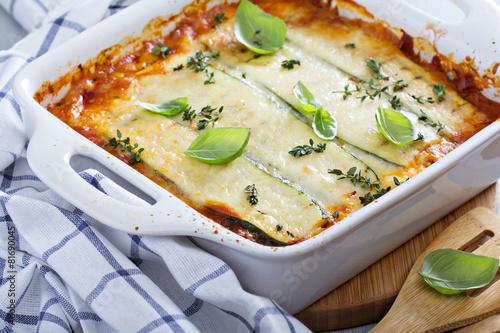 Fototapeta Healthy zucchini lasagna bolognese