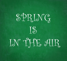 SPRING IS IN THE AIR written on chalkboard