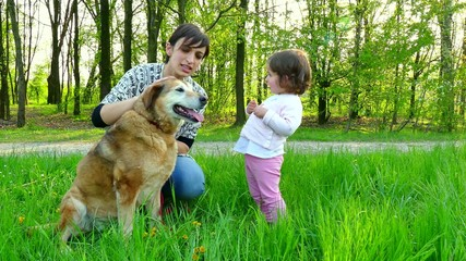 Portrait People Family Mother Mom Daughter Child Girl Dog