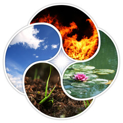 Vier Elemente - Feuer, Wasser, Erde, Luft - im Yin-Yang-Design