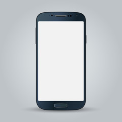 Black business mobile phone vector style isolated on gray