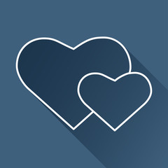 Vector two hearts icon isolated outline. Eps10
