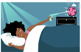 Woman hitting a snooze button with a water gun poster