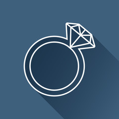 Vector gray flat wedding ring icon isolated outline. Eps10