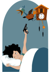 Tired woman shooting a cuckoo clock