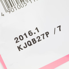 Close - up Expiry date printed on product box..