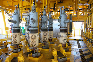 Oil and gas production slot on the platform