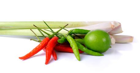 Hot chilli, Lime, Lemongrass isolated on white background
