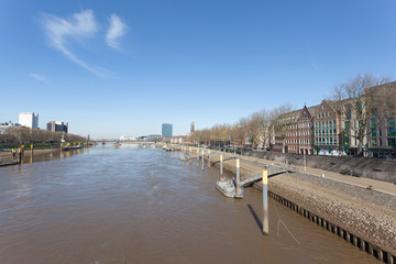 Weser river in the city of Bremen, Germany