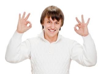 young man indicating ok sign