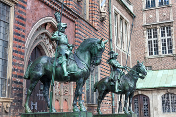 Knight statue at the historic town hall in Bremen, Germany