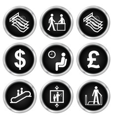 Black office and finance related icon set