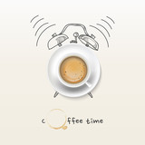 Fototapety coffee cup time clock concept design background
