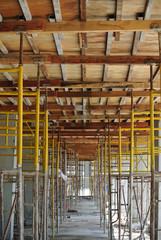 Row of scaffolding support slab formwork