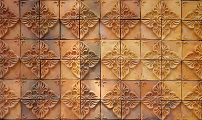 Decorative orange tone color  terracotta tiles wall