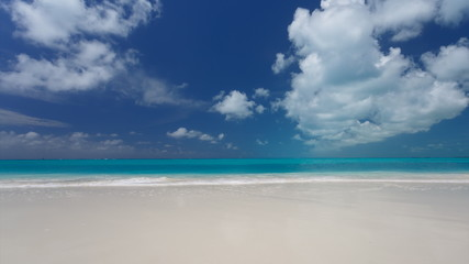 Time lapse of blue sky with clouds over Carribian sea