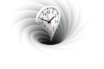 a black hole warps and absorbs the time