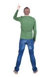 Back view of  pointing young men in  shirt and jeans.