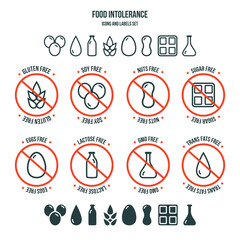 Food intolerance icons and labels set