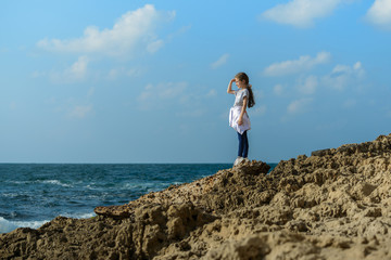 Young Beauty Girl By Sea Coast
