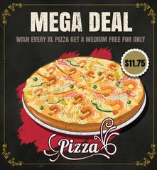 Restaurant Fast Foods menu pizza on chalkboard vector format eps