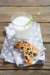 Milk with sweet biscotti