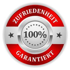 Silber 100 Prozent Zufriedenheit Siegel mit rotem Rand