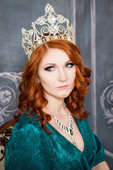 Queen, royal person with crown, red hair and green dress