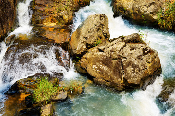 Top view of cascade on the Datanla waterfall in Da Lat city (Dal