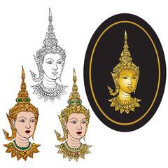 Vector illustrator traditional thai art of thai angel