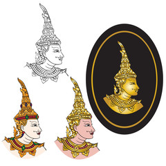 Vector illustrator traditional thai art of thai folk dancer