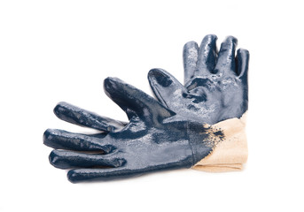 Blue rubber protective gloves.