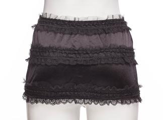 Black lingerie skirt. Back view.