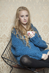 sensual woman drinking coffee