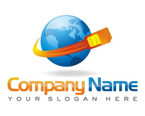 cellular phone SIM card world earth logo image vector