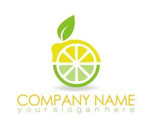 lemon orange fruit logo image vector