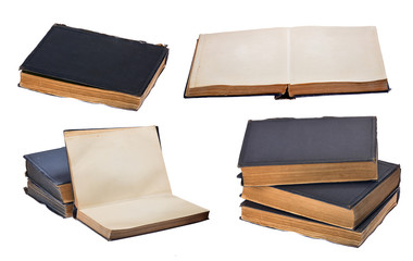 set of old books isolated on white