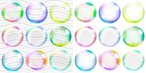 Multicolored transparent and opaque soap bubbles