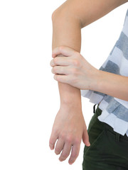 Woman arm pain on white isolated background