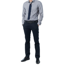 Isolate Man in trendy suit standing alone in white background
